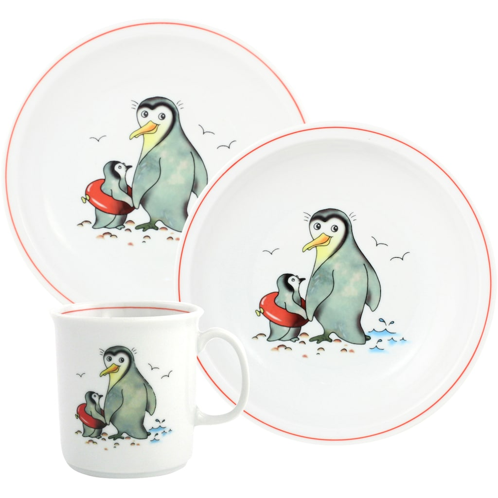 TRIPTIS® Thüringer Meisterporzellan Kindergeschirr-Set »Pinguin«, (Set, 3 tlg.), mit niedlichem Pinguin-Motiv, spülmaschinenfest