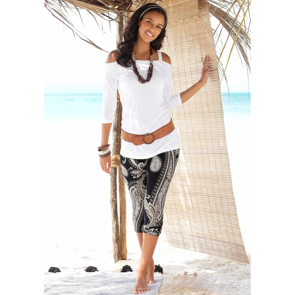 LASCANA Caprileggings, mit Zierbändern am Beinabschluss