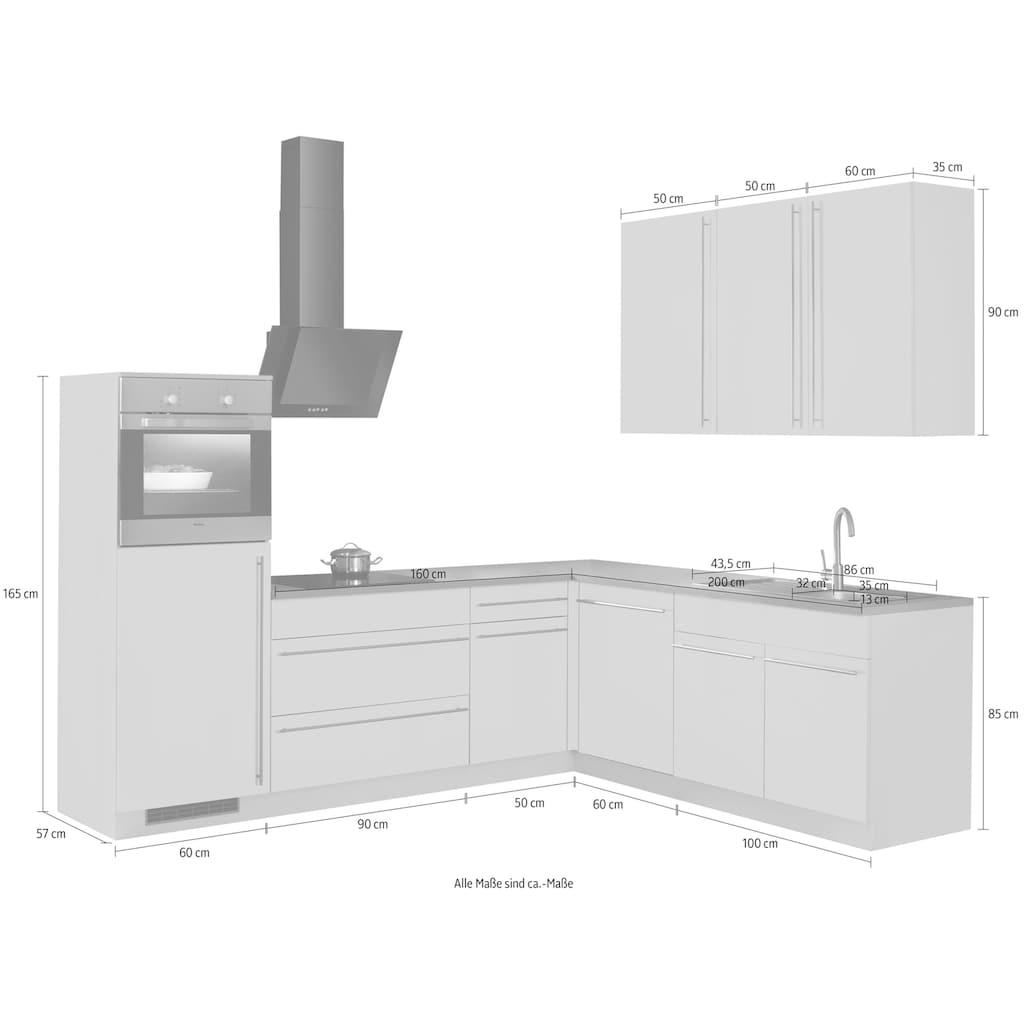 wiho Küchen Winkelküche »Chicago«, ohne E-Geräte, Stellbreite 260/220 cm