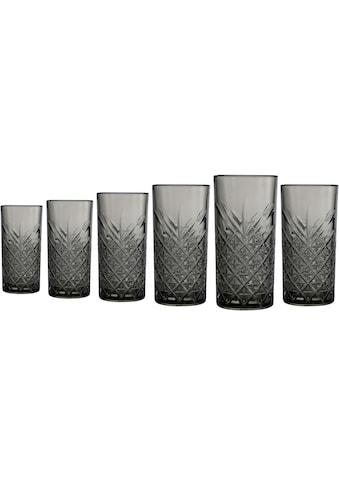 Leonique Longdrinkglas »Lelant«, (Set, 6 tlg.), durchgefärbtes Glas mit dekorativer... kaufen