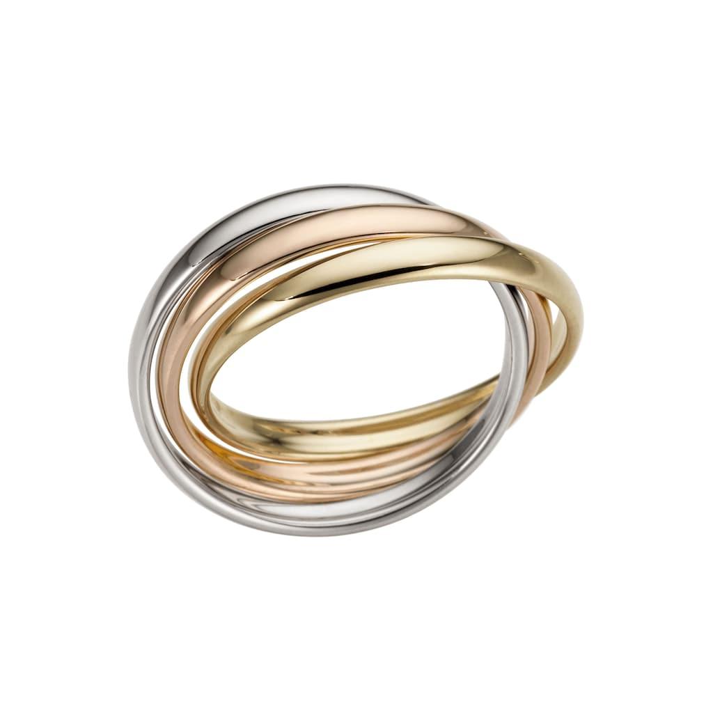 Firetti Goldring »3-Fach verschlungen, tricolor, Glanz, massiv«