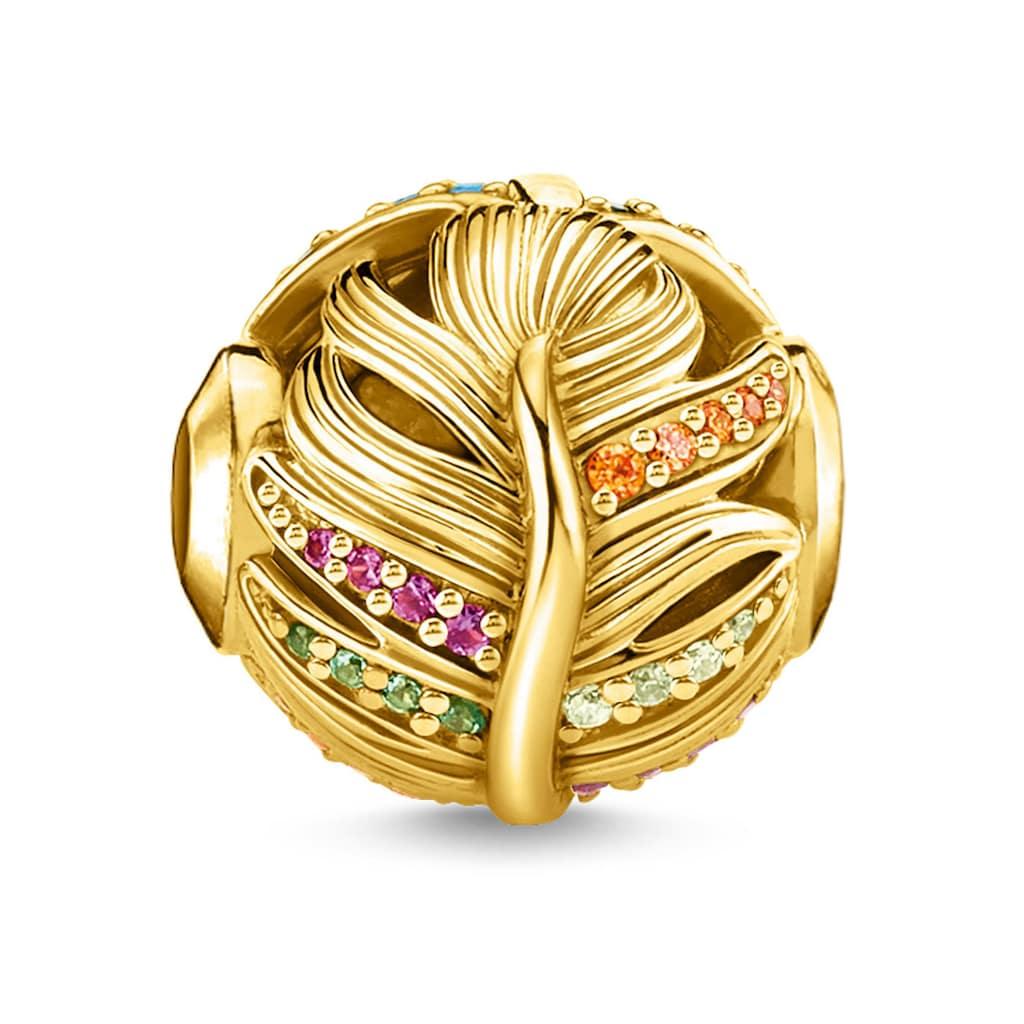 THOMAS SABO Bead »Feder gold, K0340-488-7«, mit synth. Korund, Glassteinen und Zirkonia