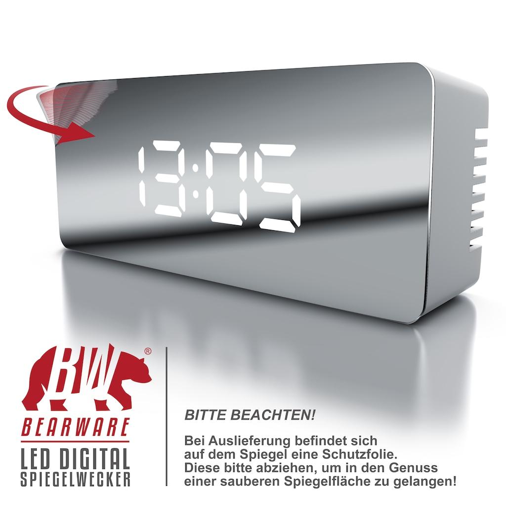 BEARWARE LED Digital Spiegelwecker inkl. Temperaturanzeige