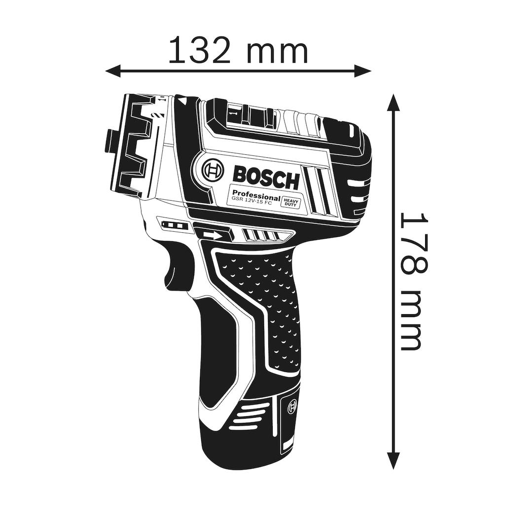 Bosch Professional Akku-Bohrschrauber »GSR 12V-15«, (Set), inkl. 2 Akkus, Ladegerät, Koffer und Flexi-Click Aufsätze