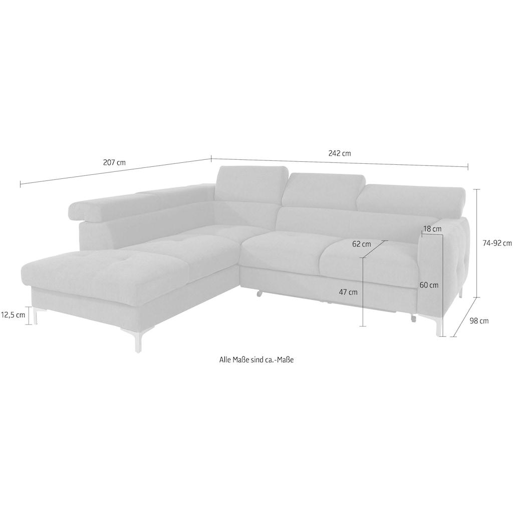 COTTA Polstergarnitur, (Set), Set: bestehend aus Ecksofa und Hocker, Ecksofa inklusive Kopfteilverstellung, wahlweise mit Bettfunktion