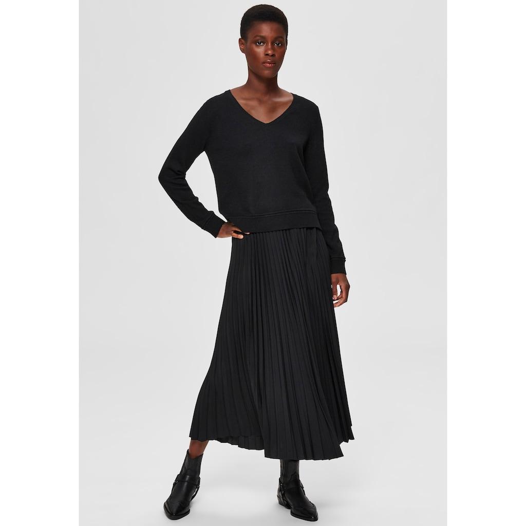 SELECTED FEMME V-Ausschnitt-Pullover »SLFINKA«, im Materialmix mit Wollanteil