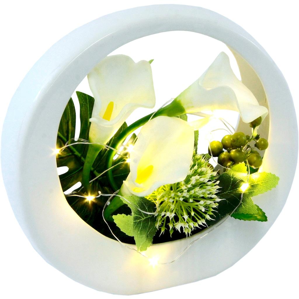 I.GE.A. Kunstblume »Calla«, im Keramiktopf, mit LED-Beleuchtung