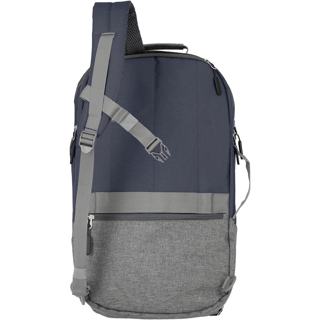 travelite Laptoprucksack »Basics L, 48 cm, marine«, Trolley-Aufsteck-System