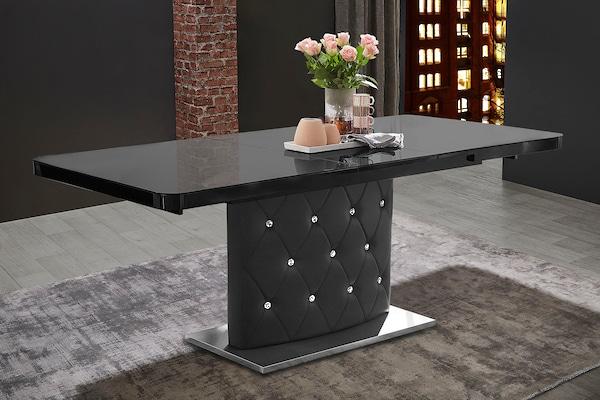 schwarzer ausziehbarer Esstisch