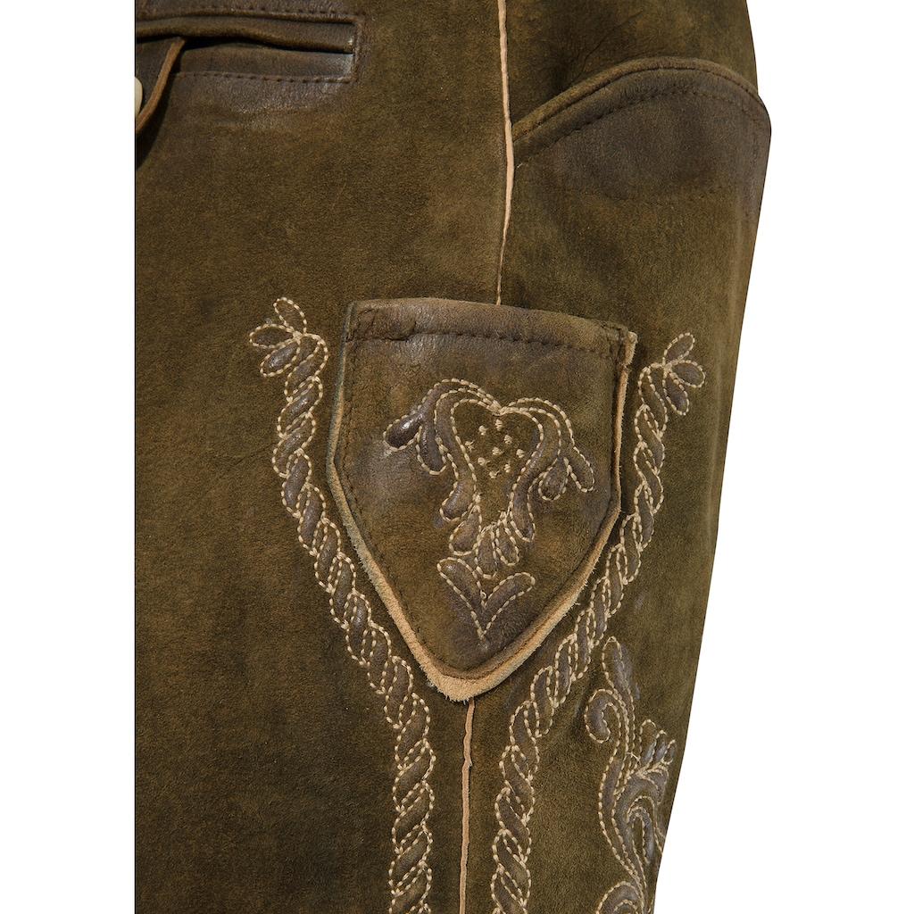 MarJo Trachtenlederhose, (2 tlg., mit Gürtel), in weicher Lederqualität