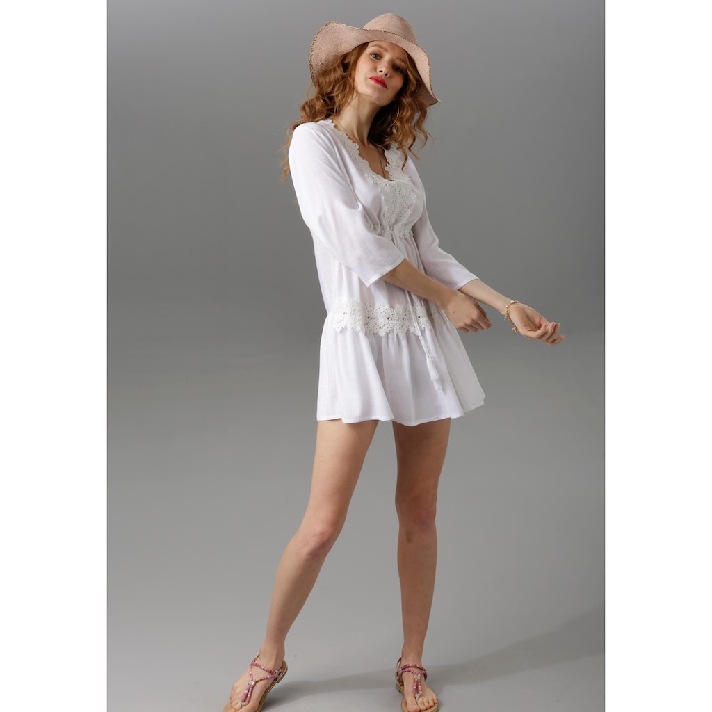 Aniston CASUAL Tunika, aufwändig mit Spitze verziert