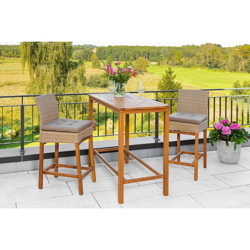 MERXX Gartenmöbelset »Barset«, (3 tlg.), 2 Barstühle mit Bartisch für den Outdoorbereich