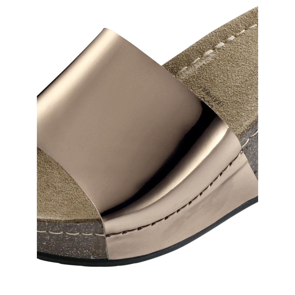 Hausschuhe Clog Spiegel in hochglänzender Metalloptik