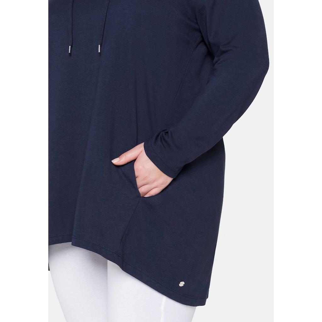Sheego Longshirt, mit Kapuze und Kontrastdetails
