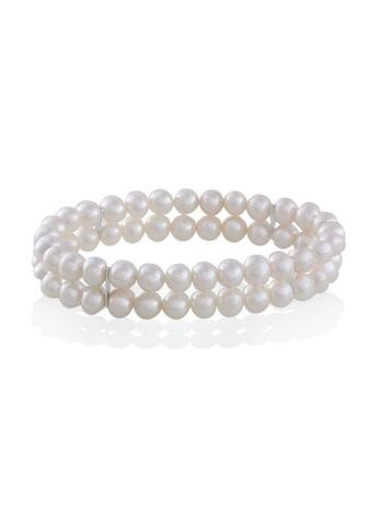 goldmaid Perlenarmband, 2-reihig 58 weiße Süßwasserperlen kaufen