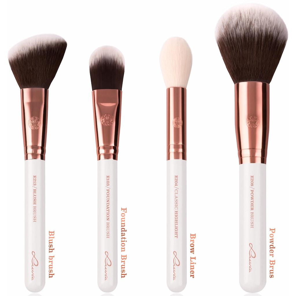 Luvia Cosmetics Kosmetikpinsel-Set »Essential Brushes - Feather White«, (15 tlg., inkl. Pinseltasche), vegan