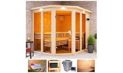 KARIBU Sauna »Aaina 3«, 245x210x202 cm, 9 kW Bio - Ofen mit ext. Steuerung, Dachkranz kaufen