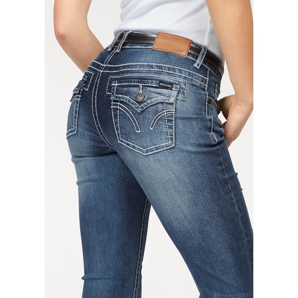 Arizona Skinny-fit-Jeans »mit Kontrastnähten und Pattentaschen«, Low Waist