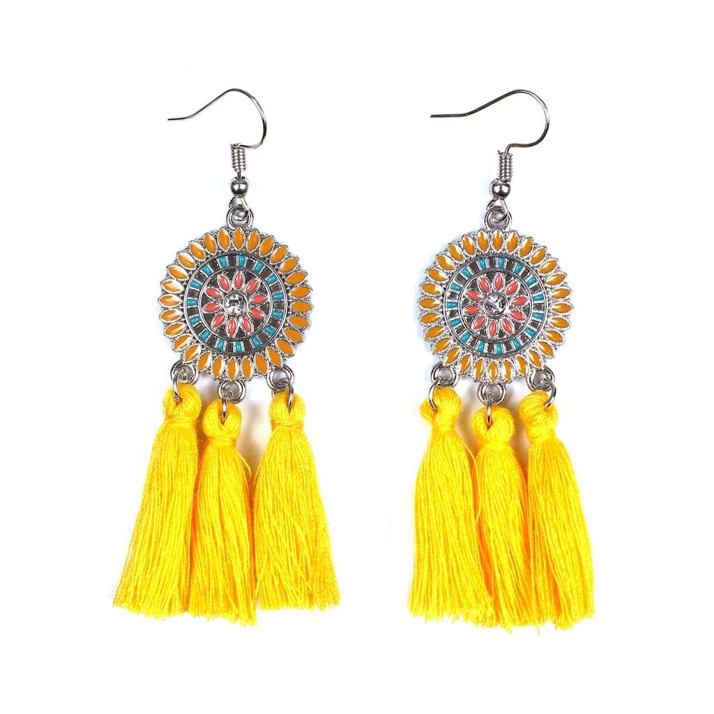 J.Jayz Paar Ohrhaken »rundes Design mit Ornamenten und Quasten«, mit Glassteinen