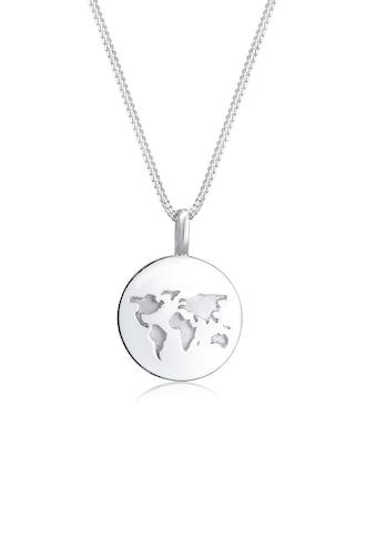 Elli Kette mit Anhänger »Weltkugel Anhänger Plättchen Rund 925 Silber« kaufen