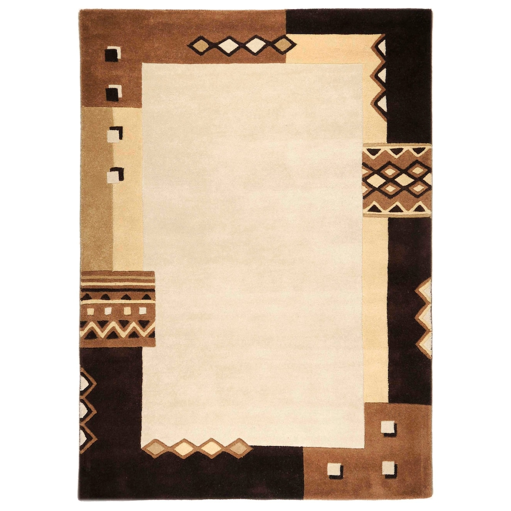 THEKO Wollteppich »Florida 3193«, rechteckig, 14 mm Höhe, reine Wolle, mit Bordüre, Wohnzimmer