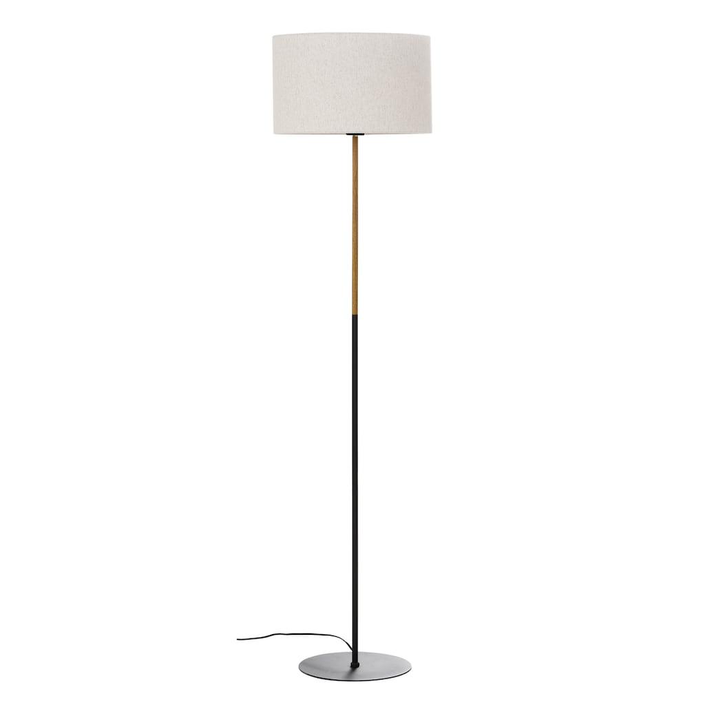 Home affaire Stehlampe »San Marina«, E27, 1 St., Stehleuchte mit zweifarbigem Fuß in schwarz / holzfarben und Leinenschirm / Stoff - Schirm beige Ø 45 cm, Höhe 153 cm