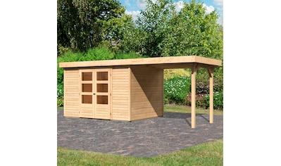 KARIBU Set: Gartenhaus »Arnis 5«, BxT: 554x262 cm, mit Anbaudach kaufen