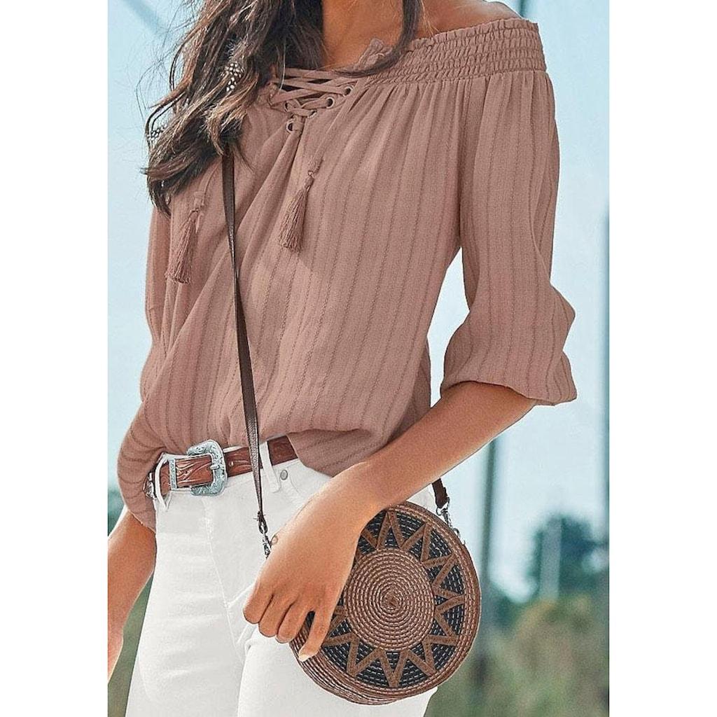 LASCANA Umhängetasche, Kleine Strandtasche, Minibag in modischer Bastoptik und runder Form