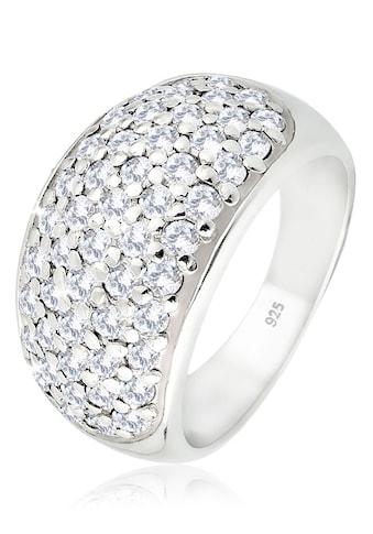 Elli Fingerring »Breit mit funkelnden Zirkonia in 925 Silber« kaufen