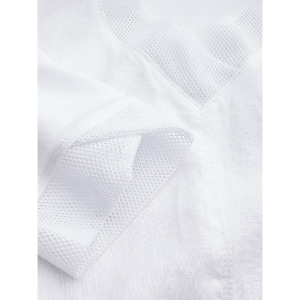Sandwich Kleid aus Leinen mit Netzdetails