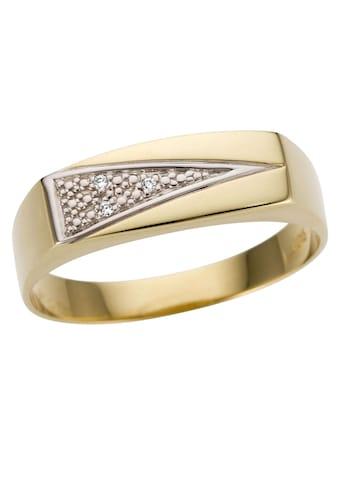 Firetti Goldring »Siegelring,bicolor, glanz, rhodinierte Fassung, massiv, dreieckig«,... kaufen