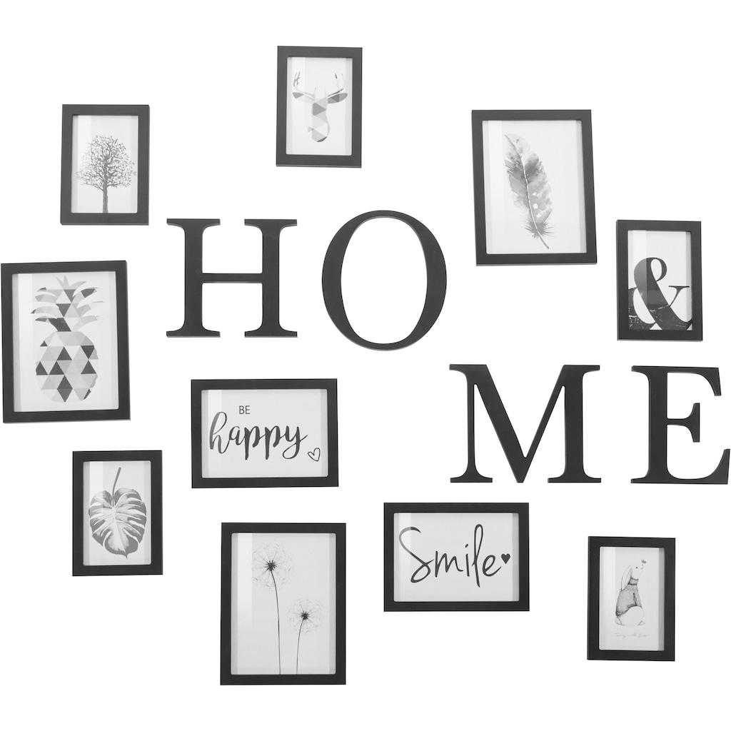 my home Bilderrahmen, für 10 Bilder, (14-teilig), Fotorahmen, schwarz, mit Schriftzug, Bildformat 10x15 cm, 13x18 cm und 15x20 cm