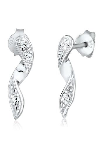Elli Paar Ohrstecker »Spirale Geo Glamour Kristalle Silber« kaufen