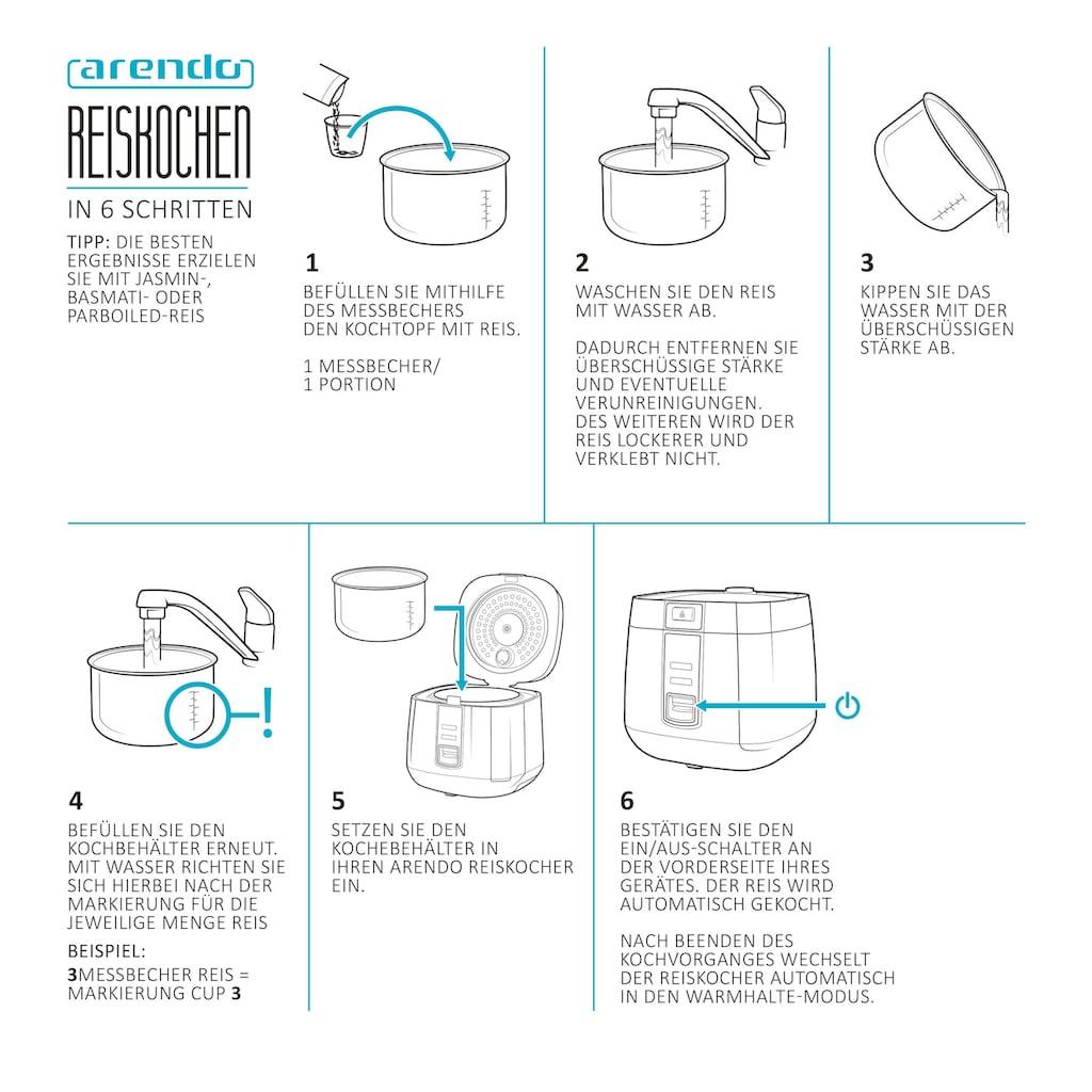 Arendo Reiskocher / Dampfgarer mit Warmhaltefunktion