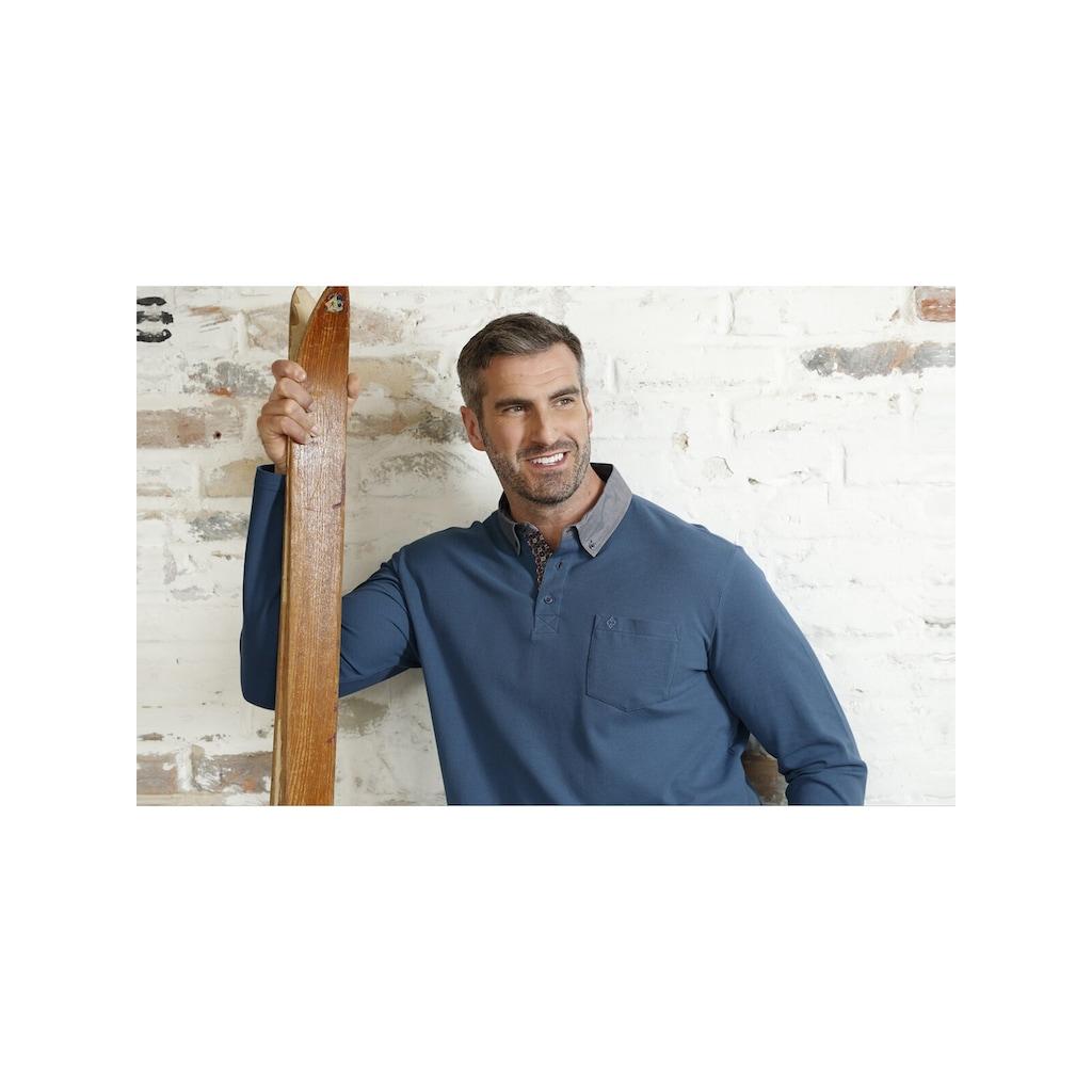 Charles Colby Langarm-Poloshirt »DUKE BRENNAN«, feines Zopf-Strickmuster