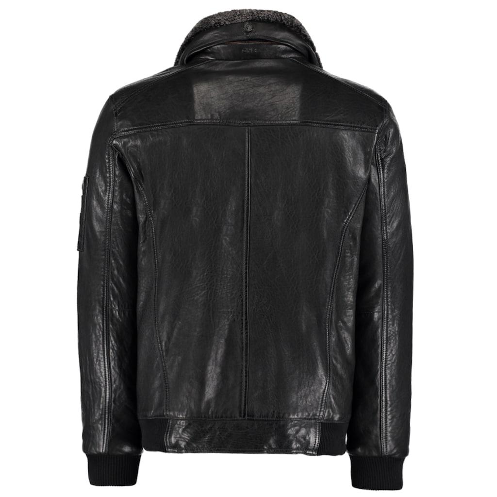 DNR Jackets Lederjacke, mit Kontrastfutter und Reißverschluss