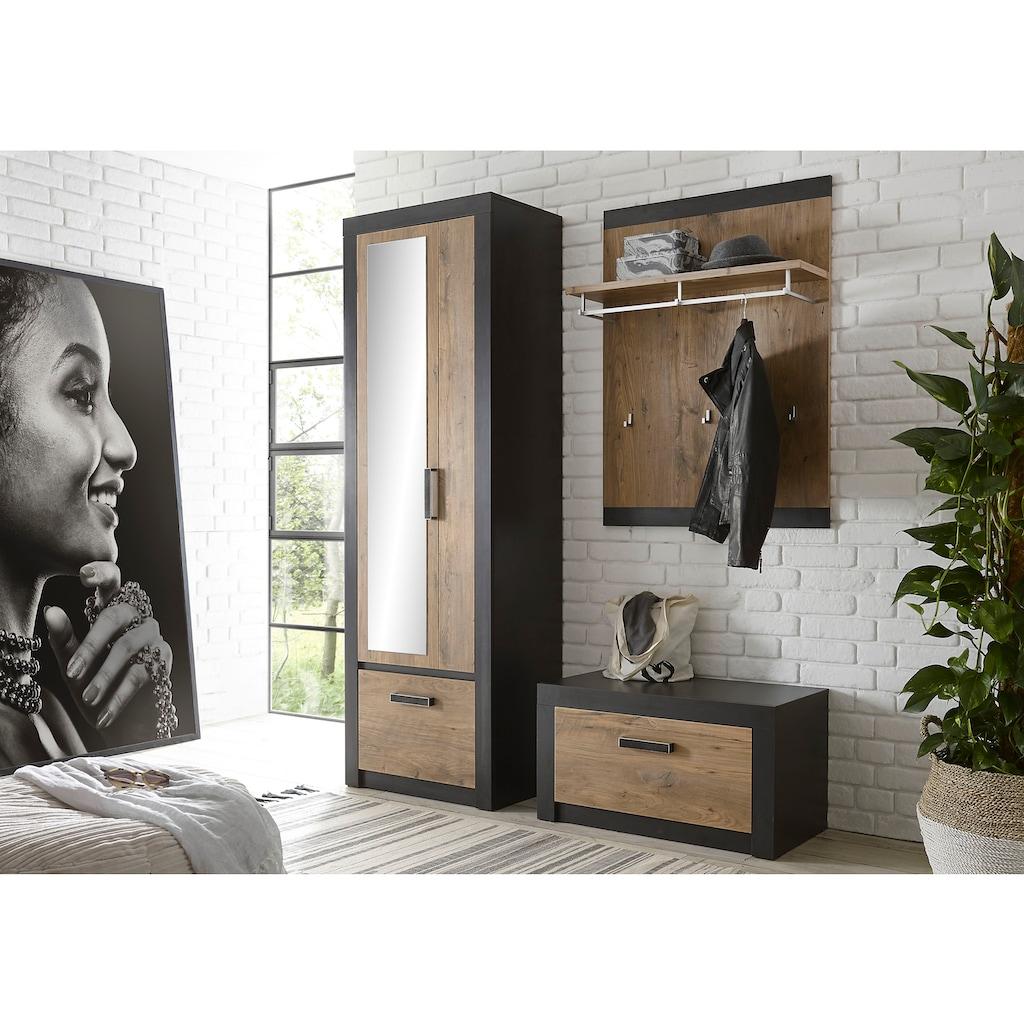 my home Garderoben-Set »BRÜGGE«, (Komplett-Set, 3 St., bestehend aus Garderobenschrank mit Spiegel, Garderobenbank und -paneel), mit einer dekorativen Rahmenoptik