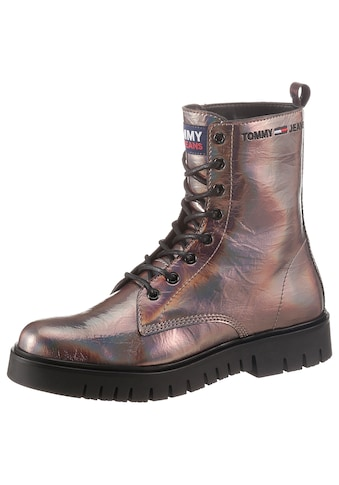 Tommy Jeans Schnürboots »IRIDESCENT PATENT LACE UP BOOT«, im Metallic-Look kaufen