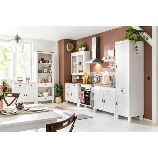 Home affaire Küchen-Set »Oslo«, (7-tlg), ohne E-Geräte, aus massiver Kiefer, 23 mm starke Arbeitsplatte