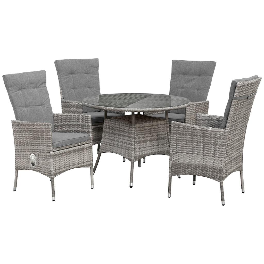 KONIFERA Gartenmöbelset »Belluno«, (9 tlg.), 4 Sessel, Tisch Ø 100 cm, Polyrattan