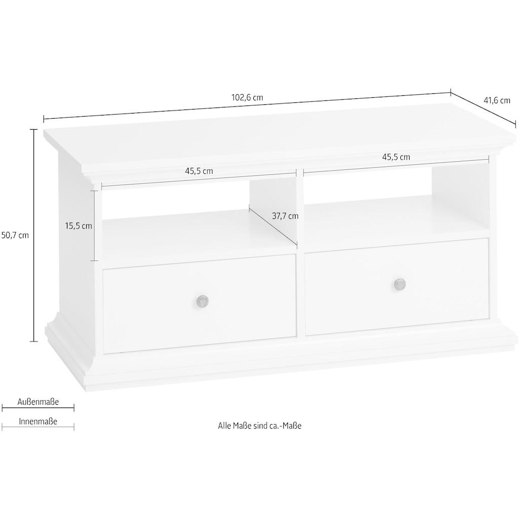 Home affaire Lowboard »Paris«, mit 2 Schubladen, für Diele oder Wohnzimmer geeignet, Breite 102,6 cm