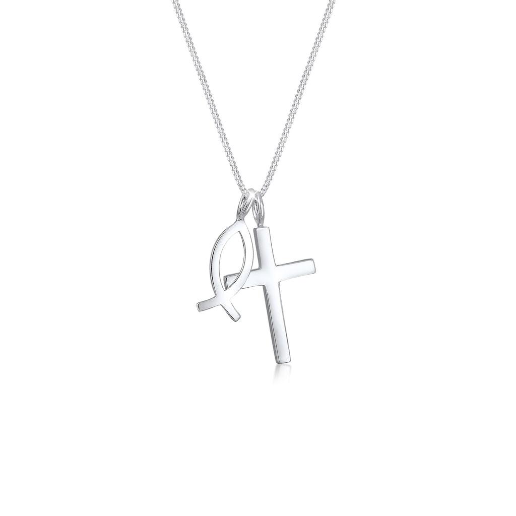 Elli Kette mit Anhänger »Panzerkette Kreuz Fisch Symbol Religion 925 Silber«