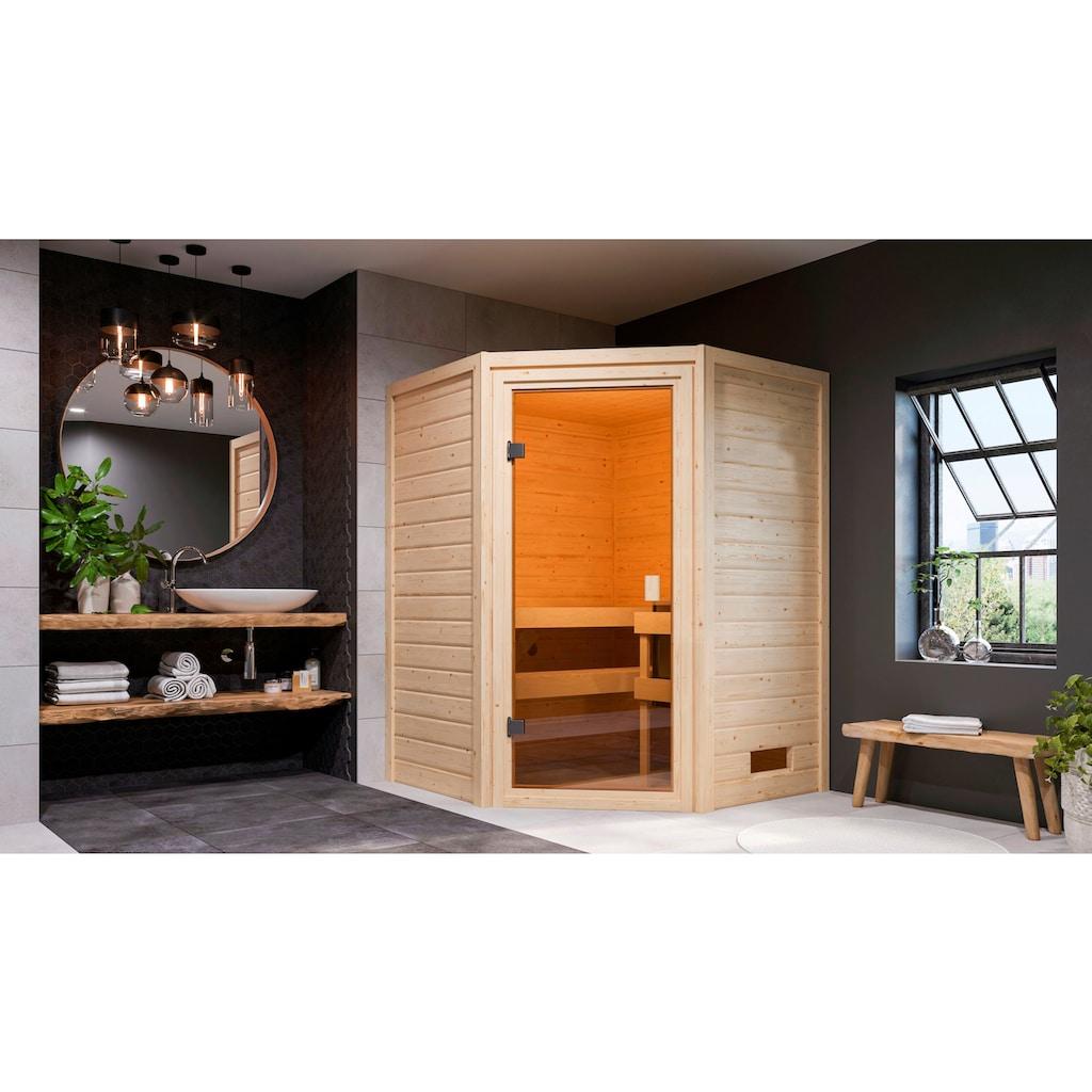 Karibu Sauna »Anni«, 3,6-kW-Plug & Play Ofen mit int. Steuerung