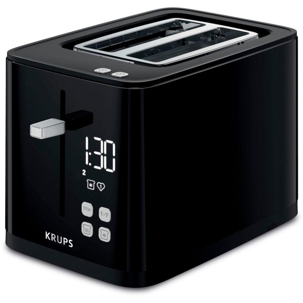 Krups Toaster »Smart'n Light KH6418;«, 2 kurze Schlitze, 800 W, Digitaldisplay; 7 Bräunungsstufen; Automatische Zentrierung des Brots