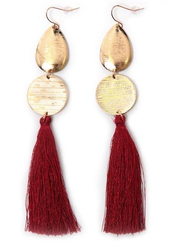 J.Jayz Paar Ohrhaken »rote lange Quasten, vergoldet« kaufen
