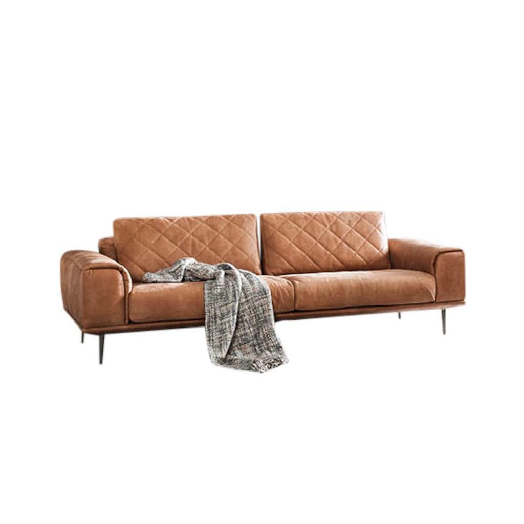 W.SCHILLIG 2,5-Sitzer »sam«, mit Diamant-Absteppungen, Metallfüße Chrom glänzend, Breite 228 cm