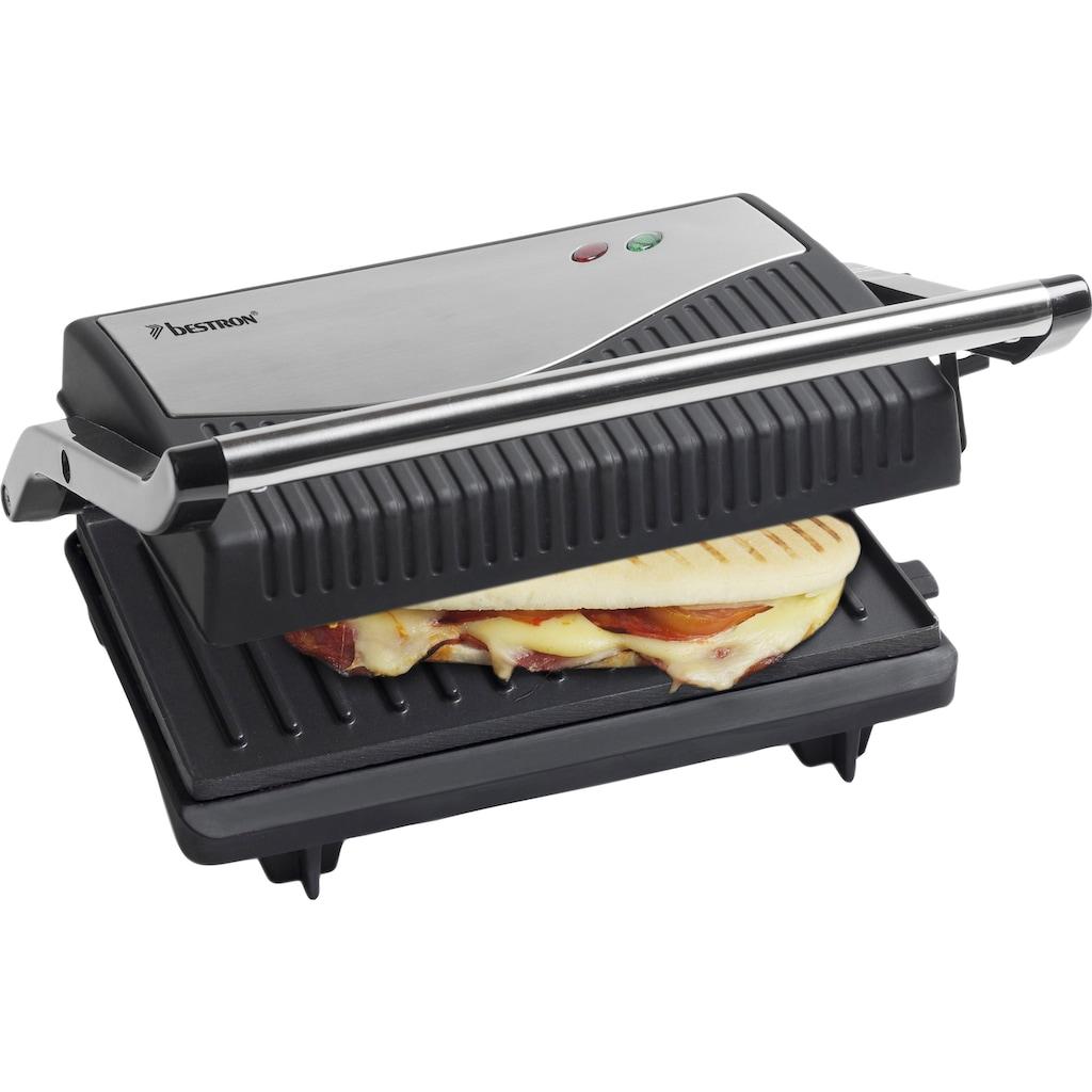 bestron Paninigrill »ausklappbarer Sandwich-/Panini-Kontaktgrill«, 750 W, antihaftbeschichtet, Schwarz