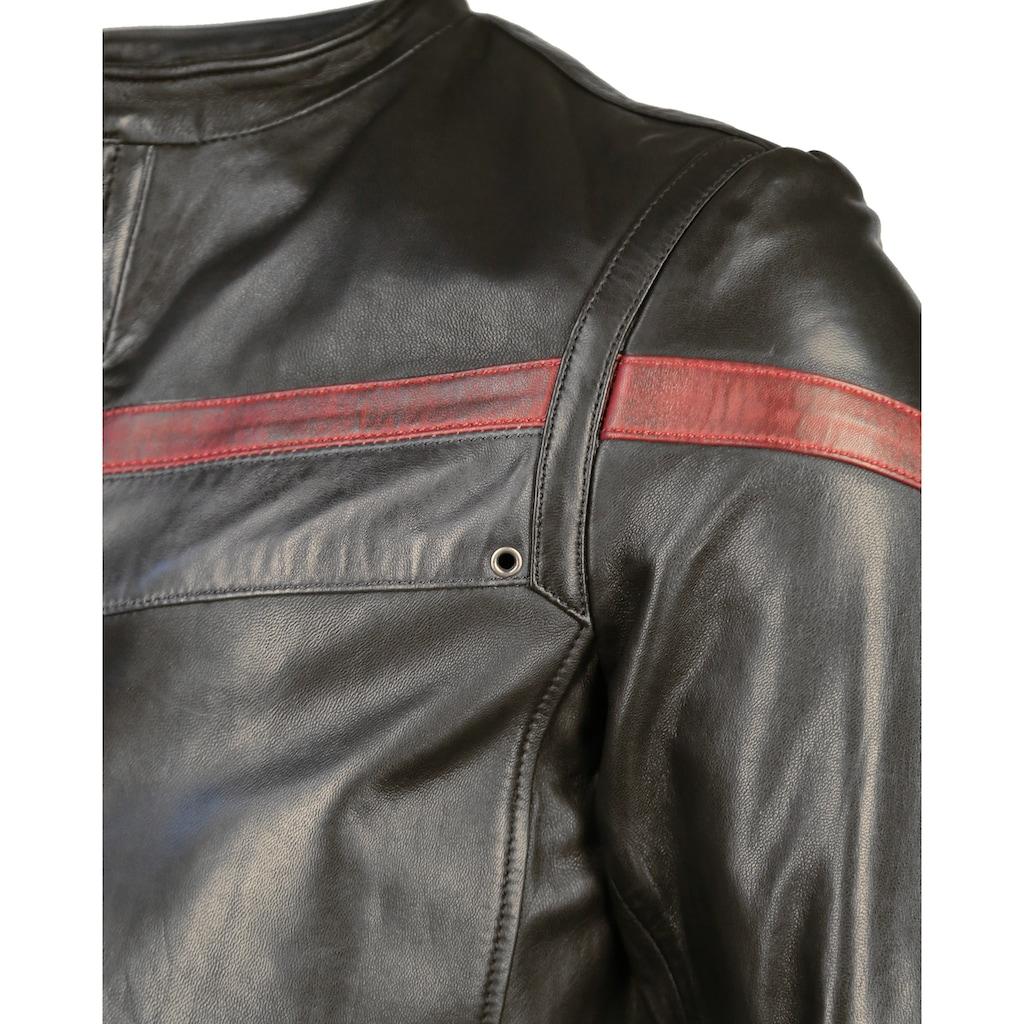 Maze Lederjacke mit rotem Retro-Streifen