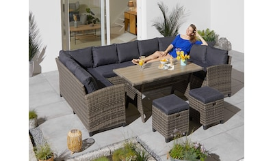 KONIFERA Loungeset »Rotterdam«, (20 tlg.), 3x Sofa, 2 Hocker, Tisch 120x82 cm, Polyrattan kaufen
