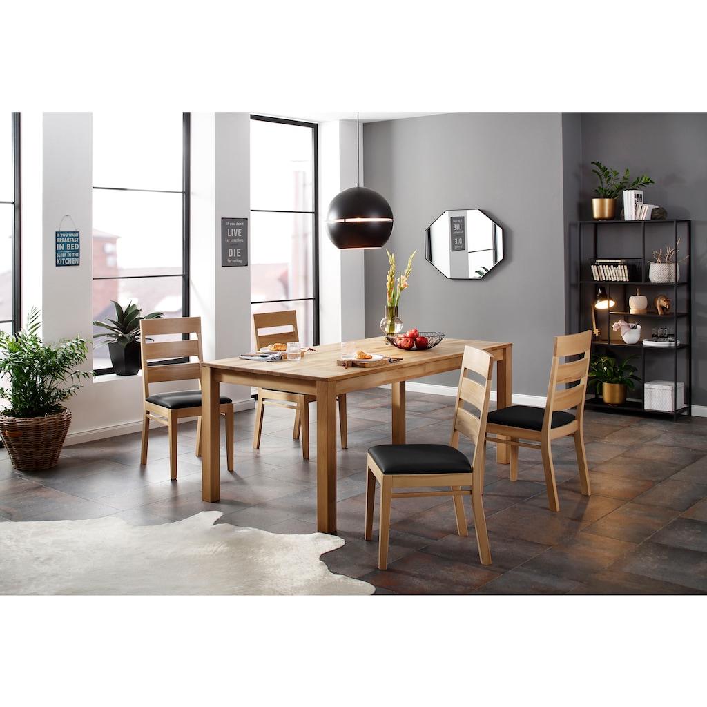 Home affaire Essgruppe »Soeren 4«, (Set, 5 tlg., Tisch 180/90 cm, 4 Stühlen, Polstersitz), (Set, 5-tlg., Tisch 180/90 cm, 4 Stühle, Polstersitz), aus Massivholz